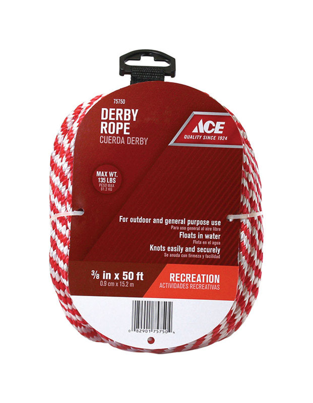 Ace  3/8 in. Dia. x 50 ft. L Solid Braided  Derby Rope  Blue/White  Poly