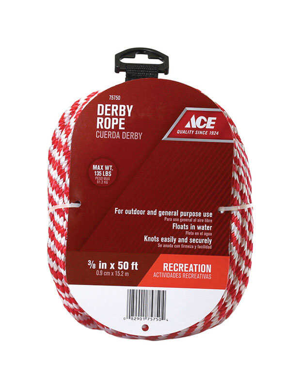 Ace  3/8 in. Dia. x 50 ft. L Blue/White  Poly  Derby Rope  Solid Braided