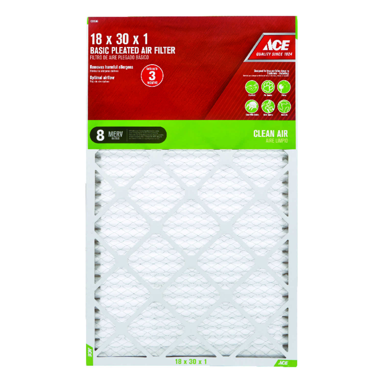 Ace  30 in. H x 18 in. W x 1 in. D Pleated  Air Filter