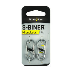 Nite Ize  MicroLock  1.8 in. Dia. Stainless Steel  Silver  Carabiner  Key Holder