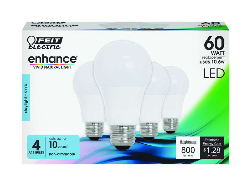 Feit Electric Enhance A19 E26 (Medium) LED Bulb Daylight 60 watt Watt Equivalence 4 pk
