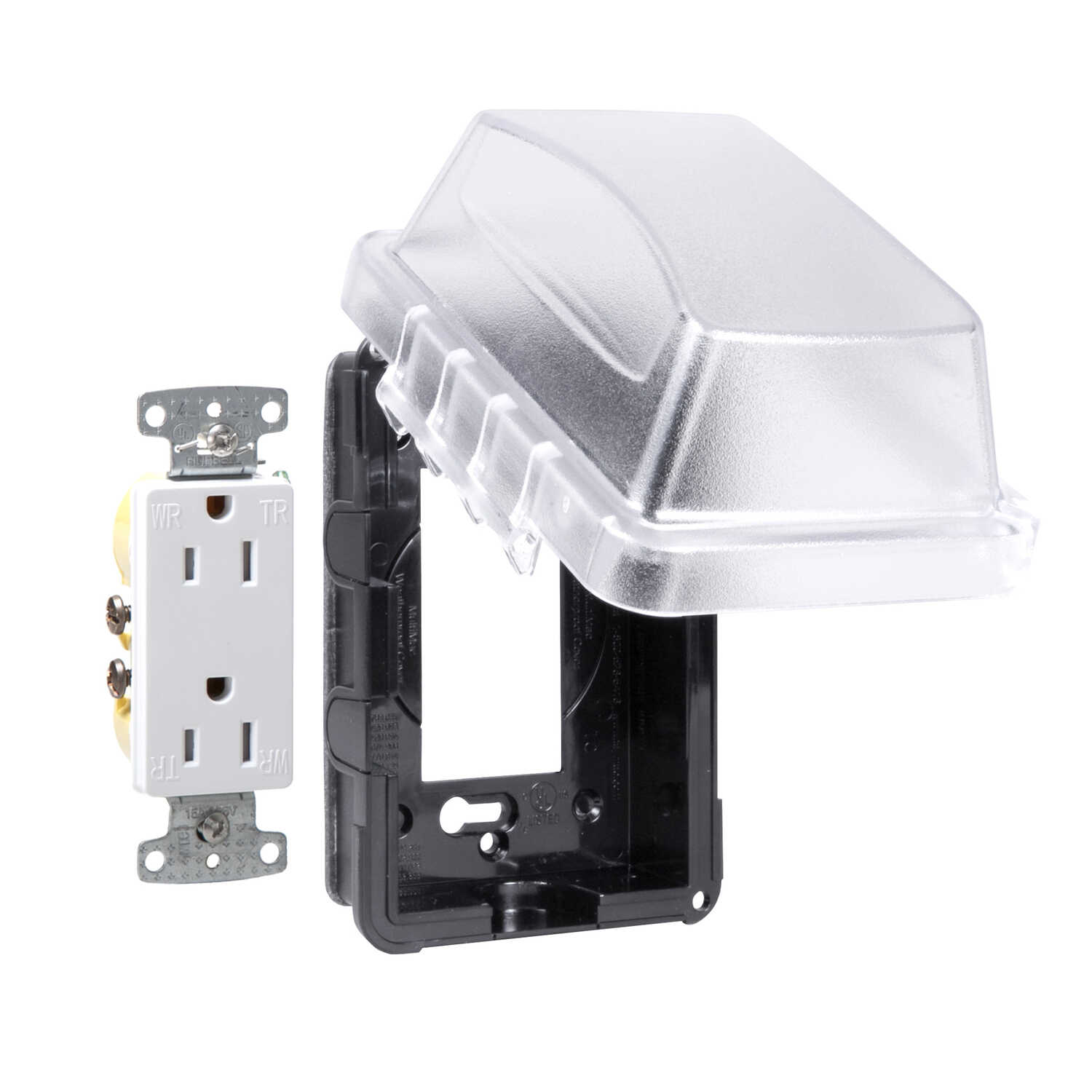 TayMac  6 in. Rectangle  Thermoplastic  GFCI Outlet Kit
