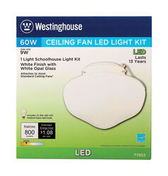 Westinghouse  Semi-Gloss  White  Schoolhouse Ceiling Fan Light Kit
