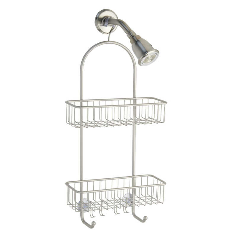 InterDesign  Classico 2  26 in. H x 5-1/4 in. W x 12 in. L Satin  Silver  Shower Caddy