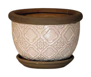 Trendspot  8 in. H x 8 in. W Cream White  Ceramic Pot