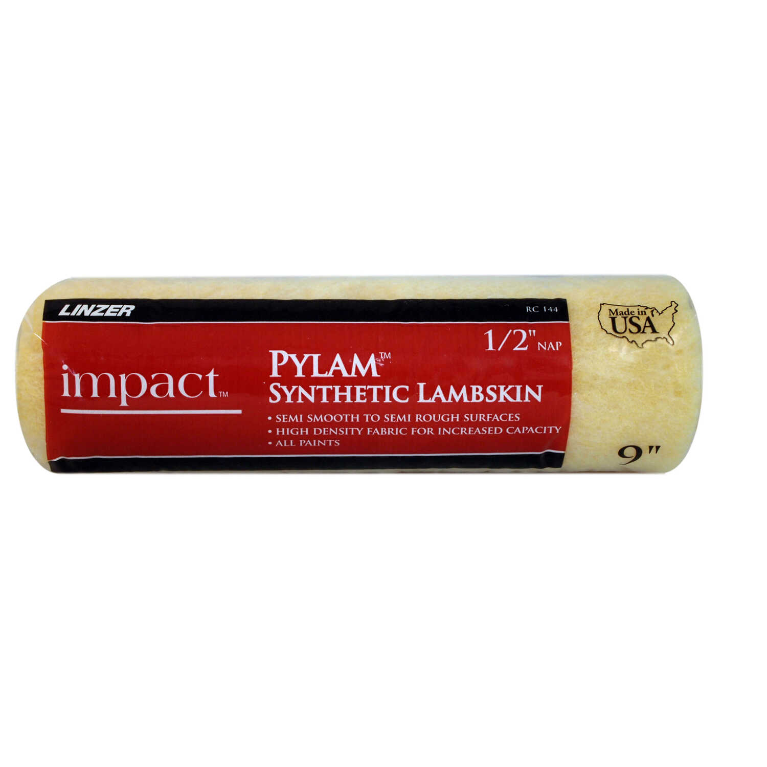 Linzer  Impact Pylam  Synthetic Lambskin  1/2 in.  x 9 in. W Regular  Paint Roller Cover  For Semi-S