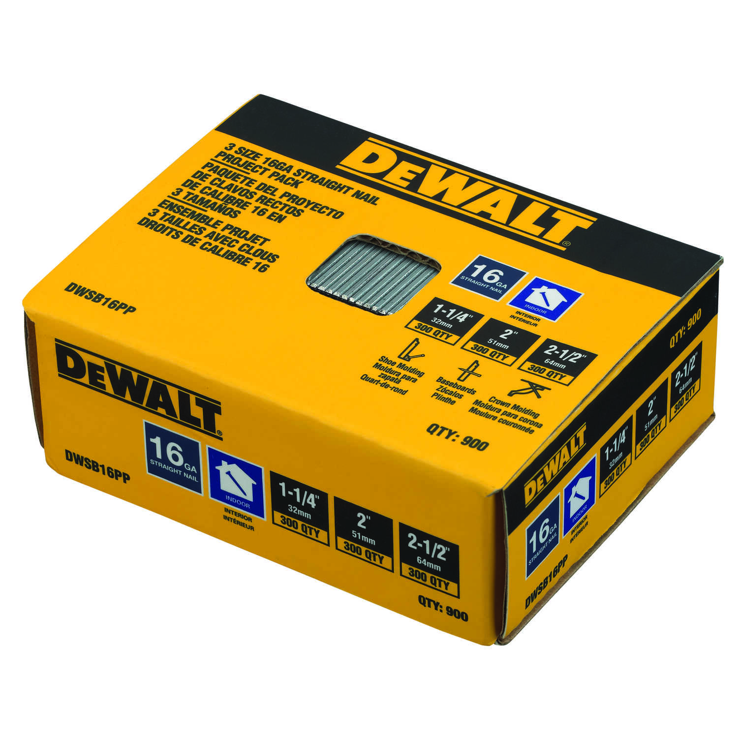 DeWalt  16 Ga. Smooth Shank  Straight Strip  Finish Nails  900 pk