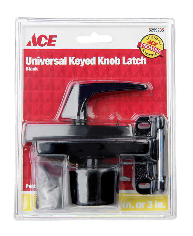 Ace  Black  Steel  Keyed Universal Knob Latch  1 pk