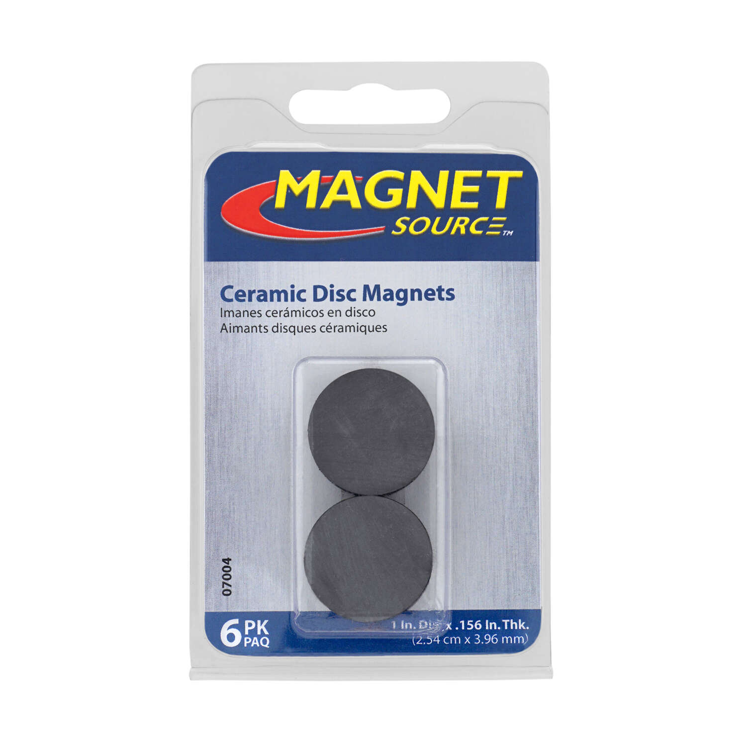Master Magnetics  The Magnet Source  .156 in. Ceramic  Disc Magnets  Disc  0.8 lb. pull Black  6 pc.