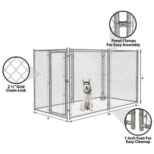 Pet Sentinel  Galvanized Steel  Dog Kennel  Gray  72 in. H