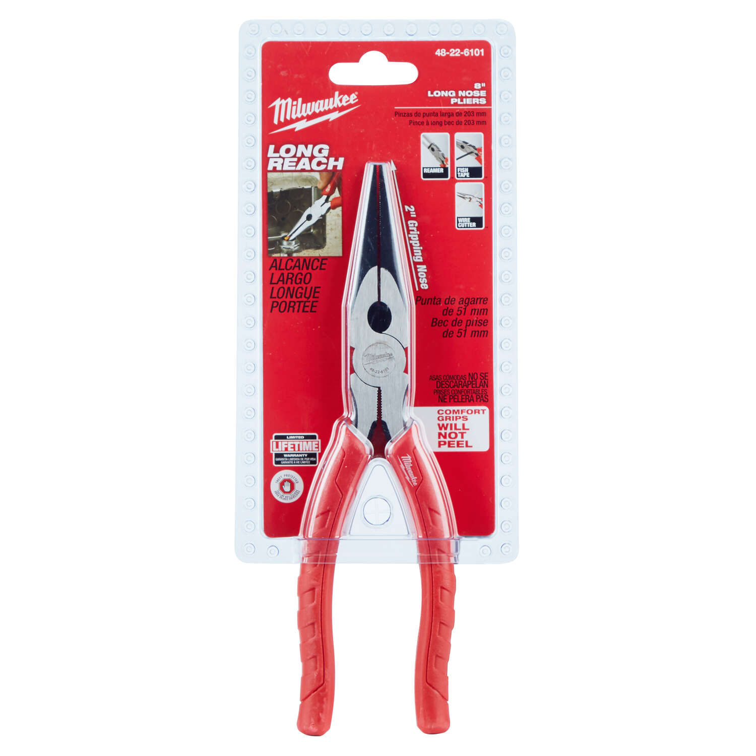 Milwaukee  8 in. Forged Alloy Steel  Long Nose Pliers  Red  1 pk