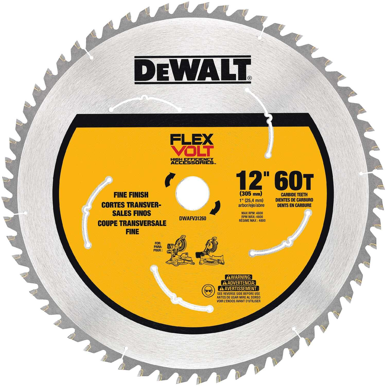 DeWalt  Flexvolt  12 in. Dia. x 1 in.  Carbide Tipped Steel  Circular Saw Blade  60 teeth 1 pk