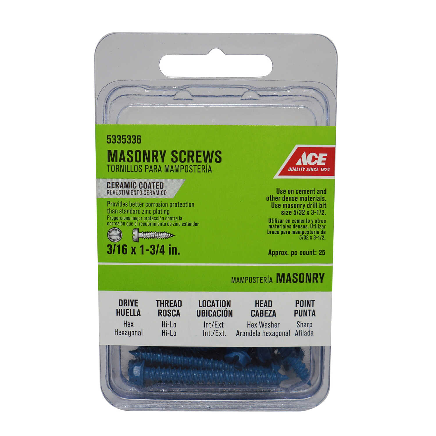 Ace  3/16 in.   x 1-3/4 in. L Slotted  Hex Washer Head Ceramic  Steel  Masonry Screws  25 pk