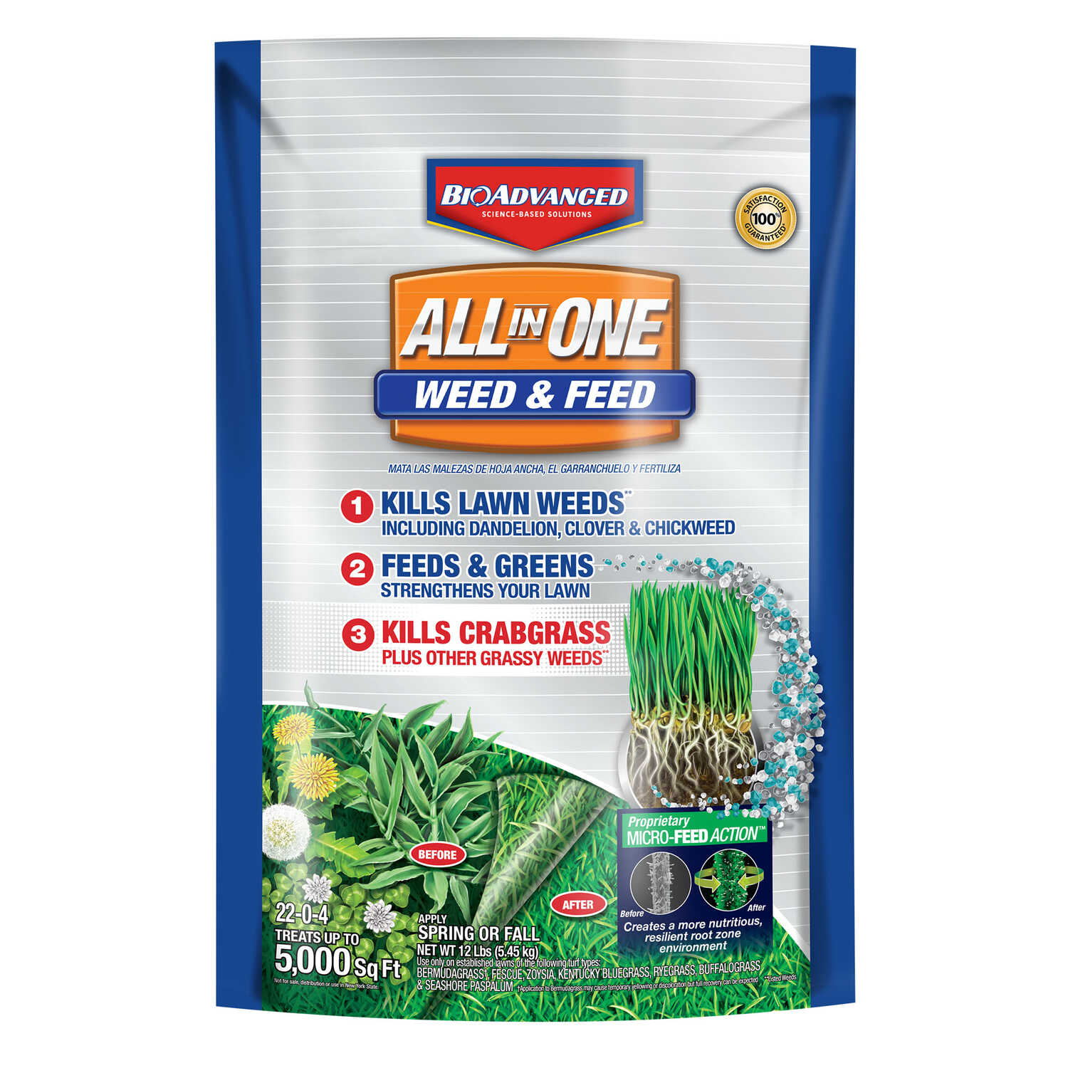 BioAdvanced  22-0-4 slow-release fertilizer  Weed and Feed  For Mixed 12 lb.