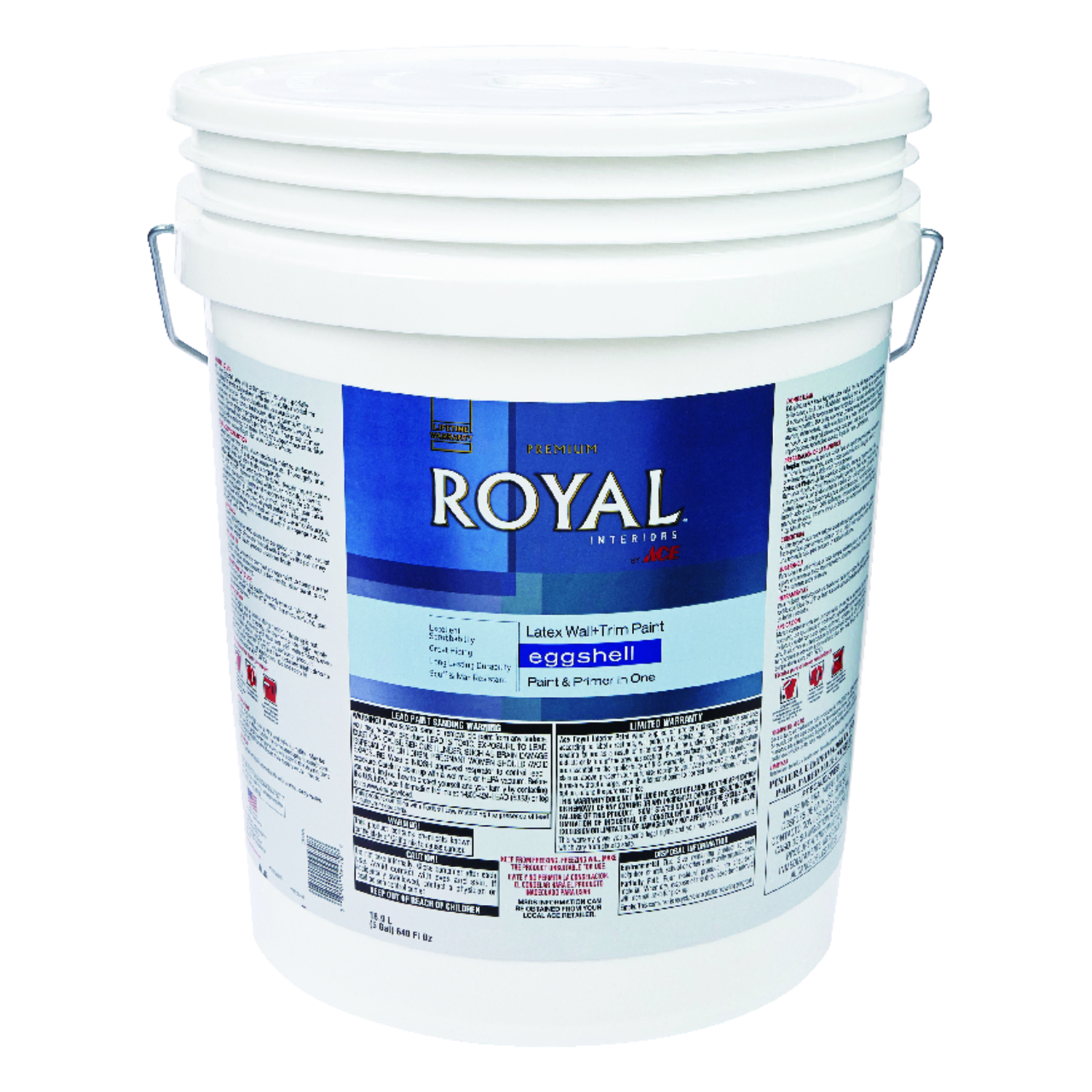 Ace  Royal  Eggshell  High Hiding White  Vinyl Acetate/Ethylene  Interior Latex Wall+Trim Paint  5 g