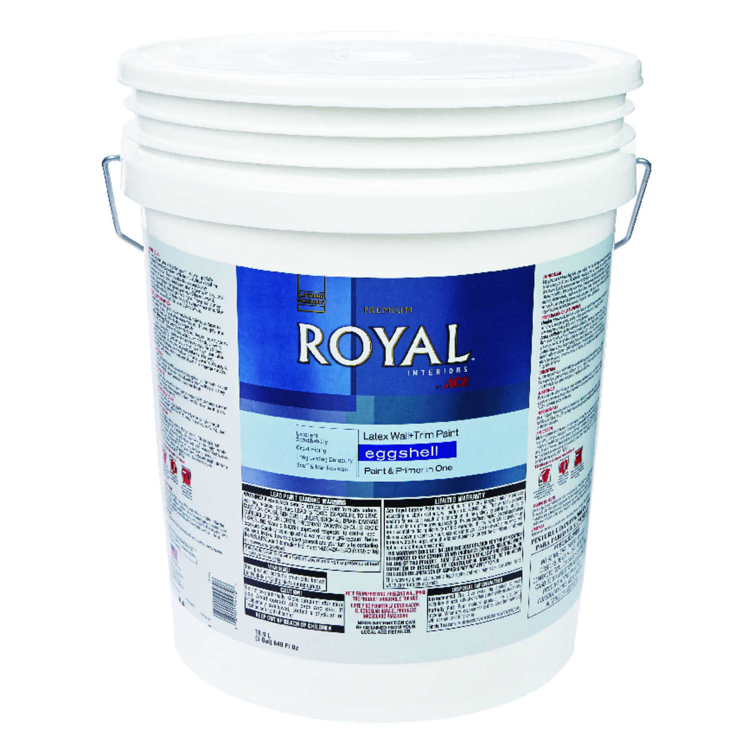 Ace  Royal  Eggshell  Vinyl Acetate/Ethylene  High Hiding White  5 gal. Interior Latex Wall+Trim Pai