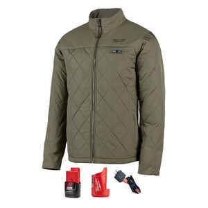 Milwaukee  M12 AXIS  M  Long Sleeve  Unisex  Full-Zip  Heated Jacket Kit  Olive