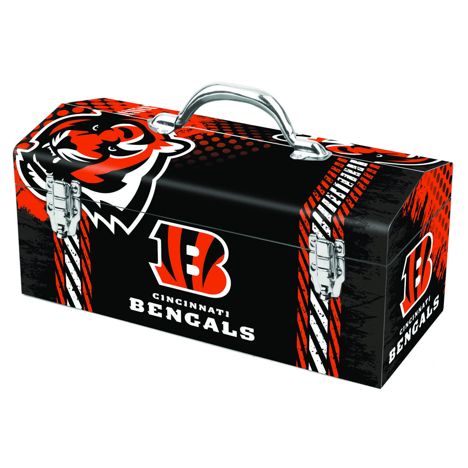 Sainty International  16.25 in. Steel  Cincinnati Bengals  Art Deco Tool Box  7.1 in. W x 7.75 in. H