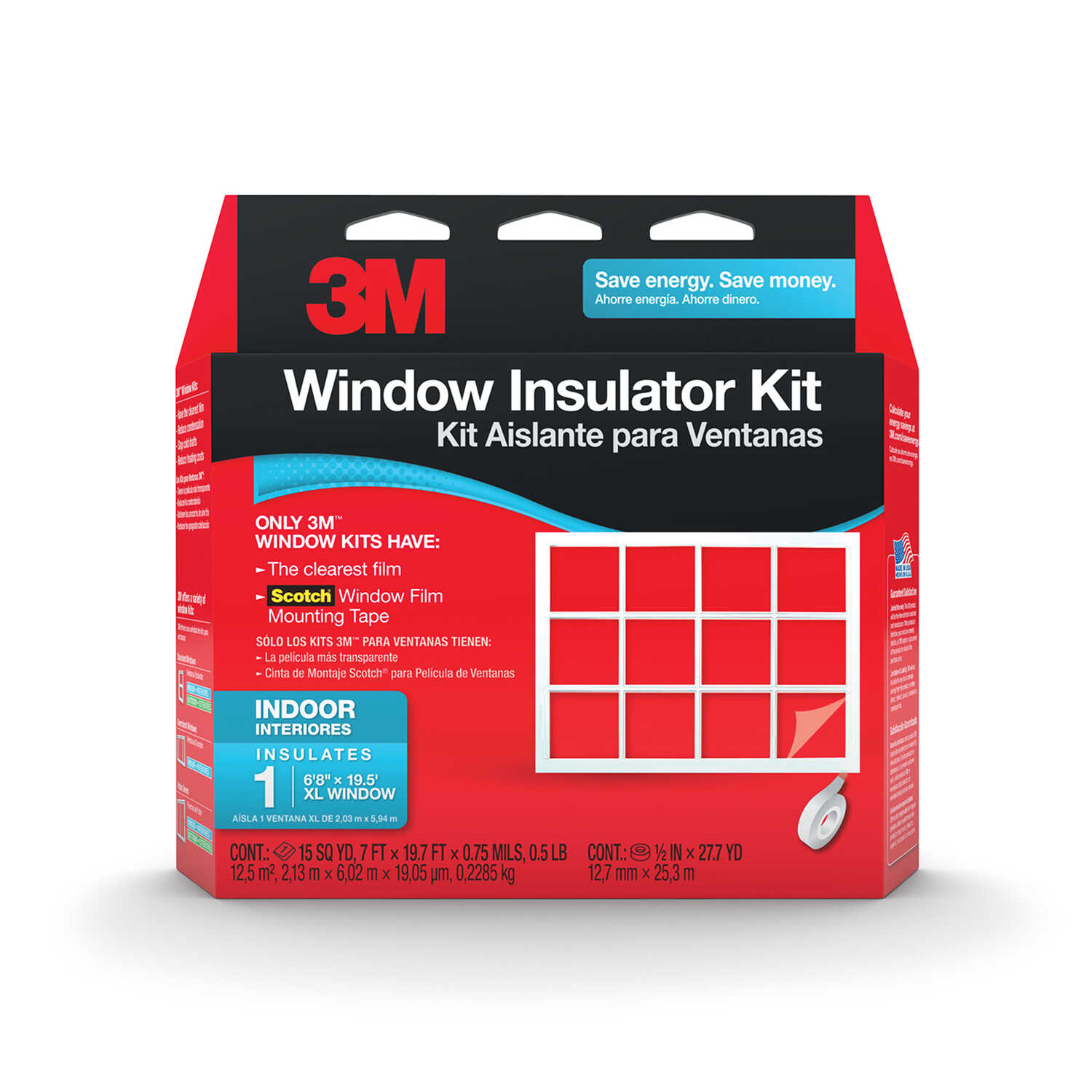 3M  Clear  Indoor  Window Film Insulator Kit  84 in. W x 236 in. L