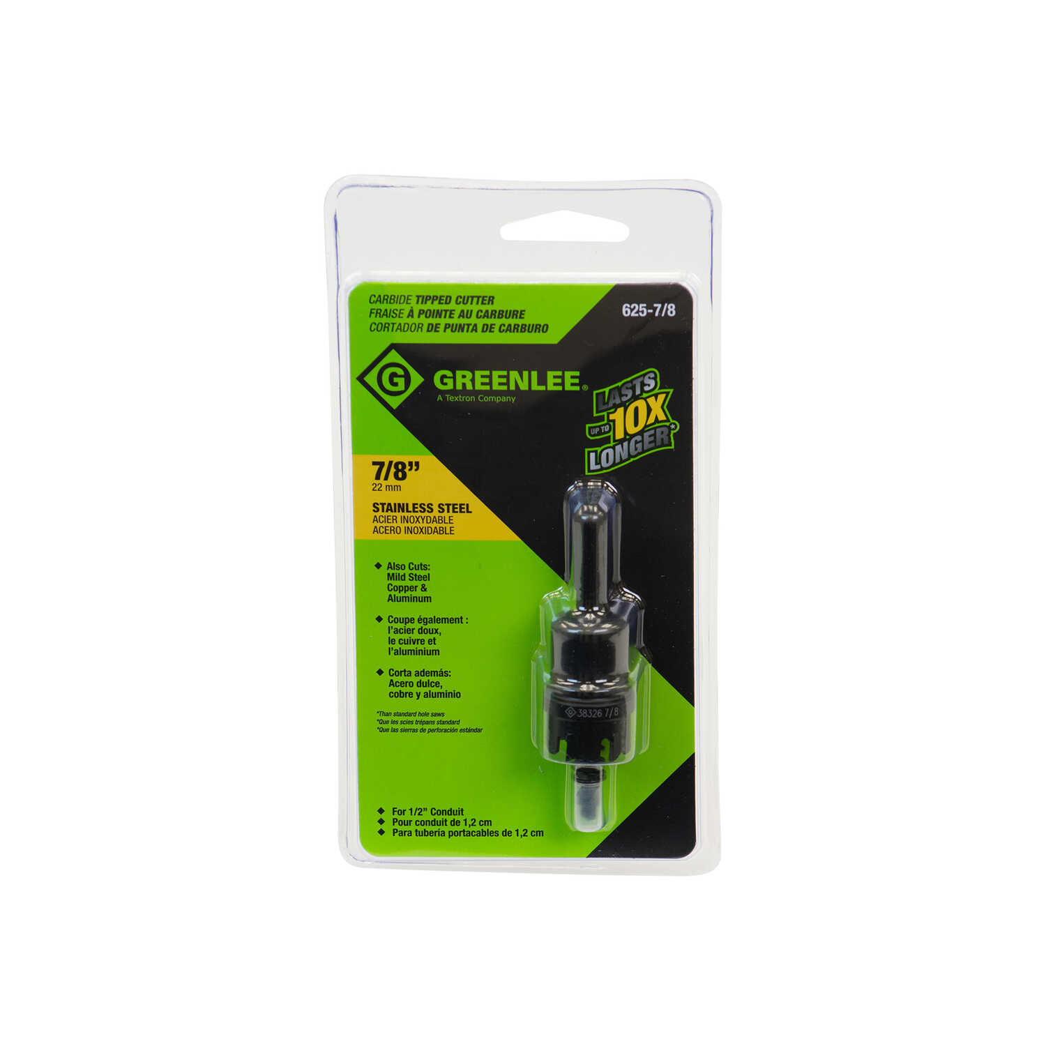 Greenlee  7/8 in. Dia. x 2 in. L Carbide Tipped  Hole Cutter  1 pc.