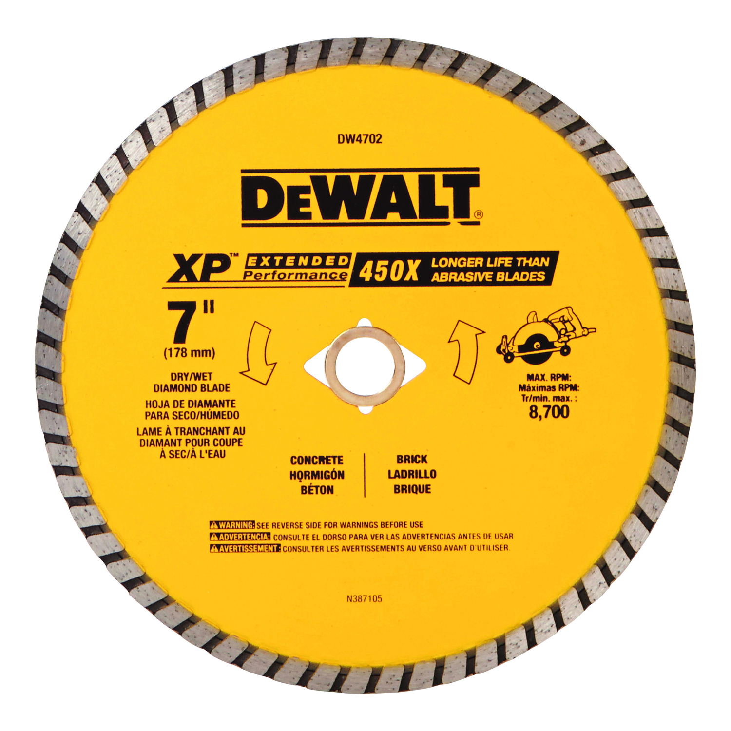 DeWalt  0.06 in.  7  XP Extended Performance  Masonry Blade  1 pk Diamond  5/8