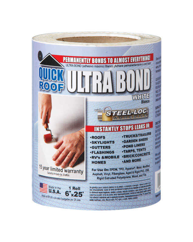 Quick Roof  Ultra Bond  6 in. H x 6 in. W x 25 ft. L White  Tape  Roll  Self Stick Instant Waterproo
