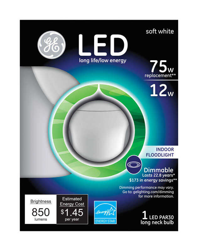 GE Lighting  12 watts PAR30  850 lumens Floodlight  75 Watt Equivalence Soft White  LED Bulb