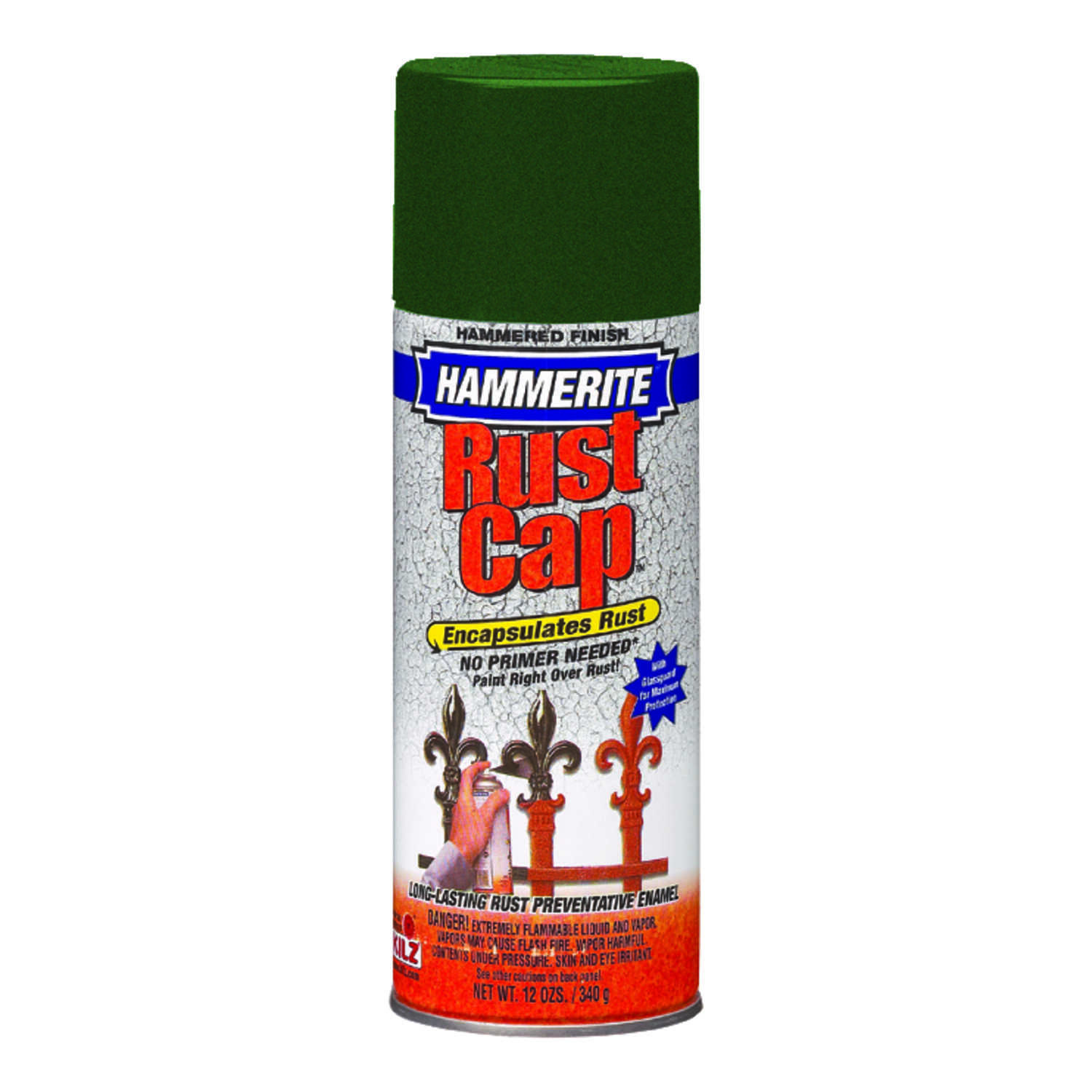 Hammerite  Rust Cap  Hammered  Enamel Spray Paint  12 oz. Deep Green