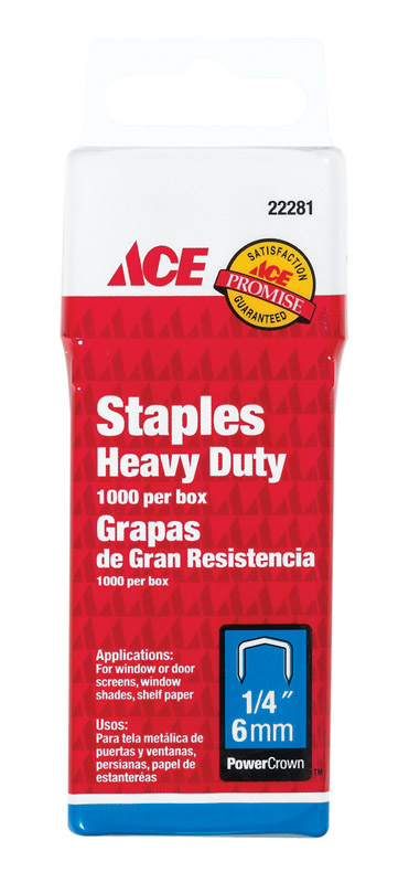 Ace  1/4 in. L Galvanized Steel  Wide Crown  Heavy Duty Staples  1000