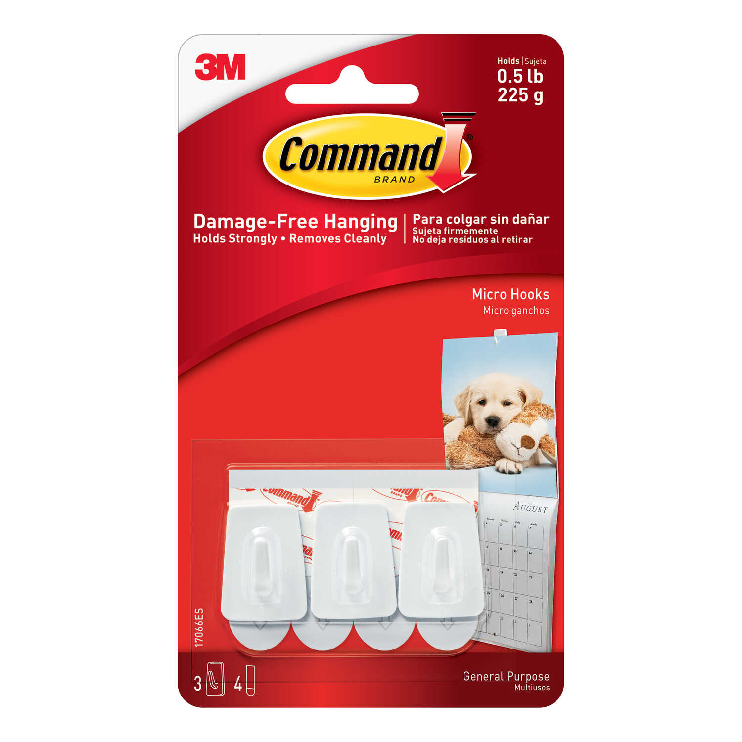 3M  Command  Small  Plastic  Hook  1-1/8 in. L 3 pk