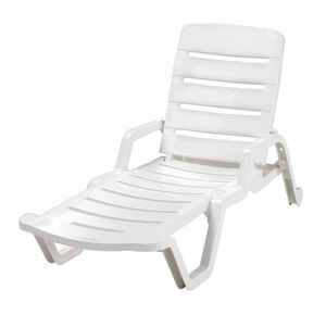 Adams  White  Resin  Adjustable Backrest Chaise Lounge