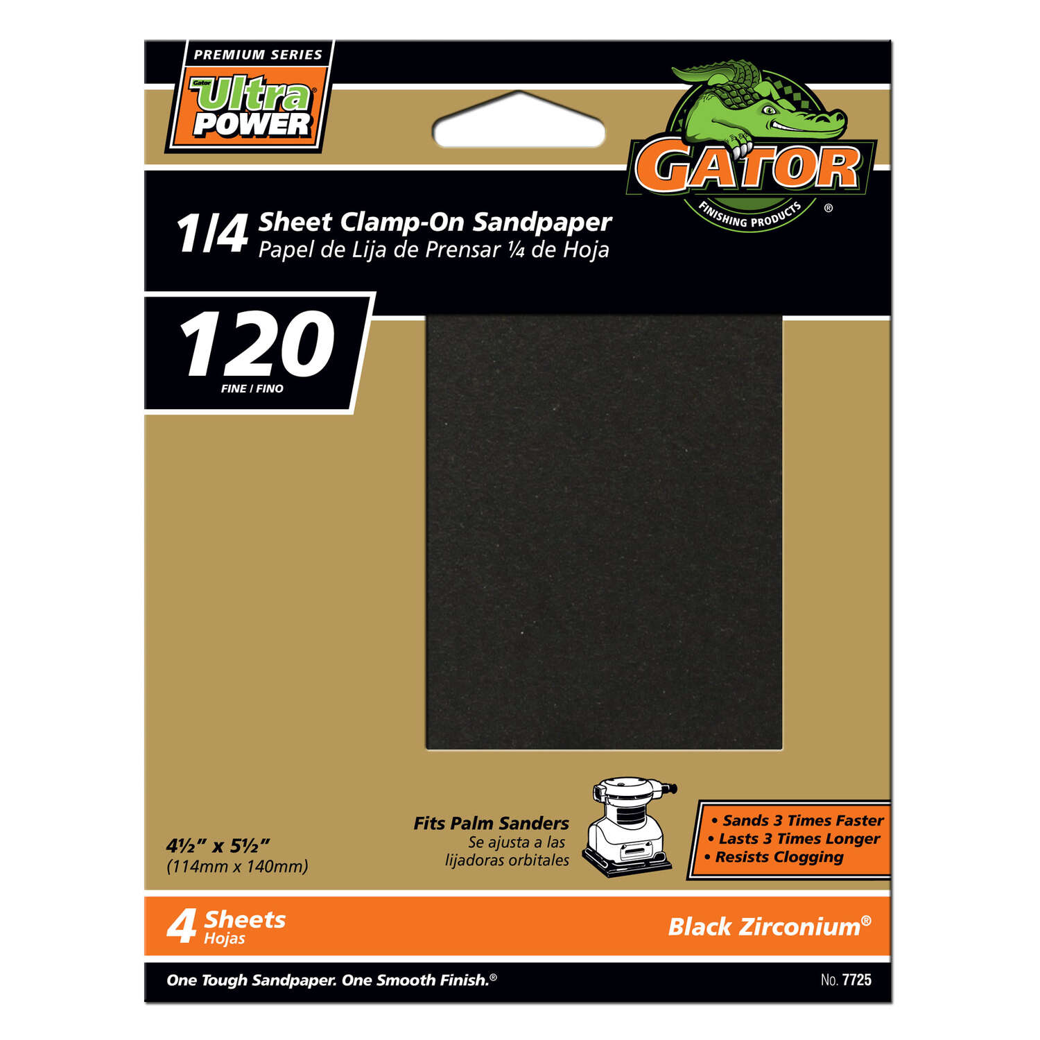 Gator  PowerPlus  5-1/2 in. L x 4-1/2 in. W 120 Grit Zirconium Oxide  1/4 Sheet Sandpaper  4 pk
