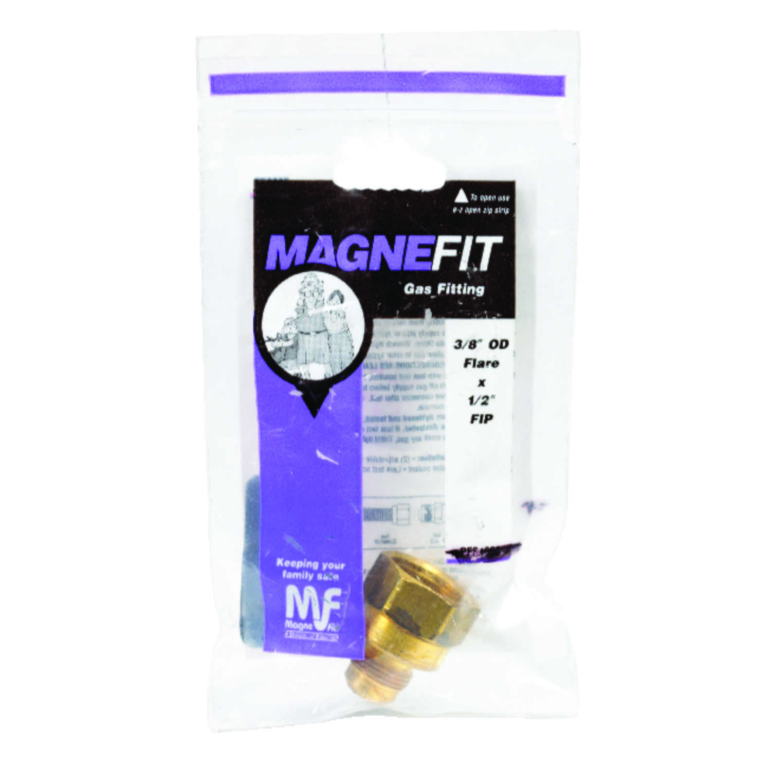 Magne Flo  3/8 in. Flare   x 1/2 in. Dia. FIP  Brass  Gas Adapter