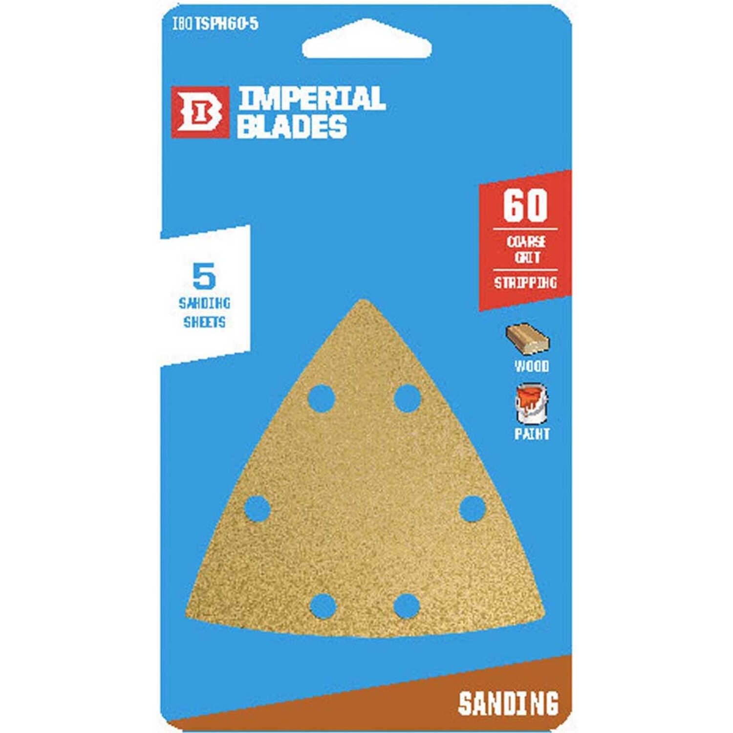 Imperial Blades  3-1/8 in. L x 3-1/8 in. W 60 Grit Coarse  Emery  Vacuum Hole Sandpaper  5 pk