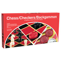 Pressman  Checkers/Chess/Backgammon Set  Multicolored