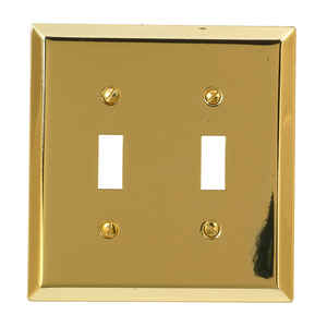 Amerelle  Century  Polished Brass  2 gang Stamped Steel  Toggle  Wall Plate  1 pk