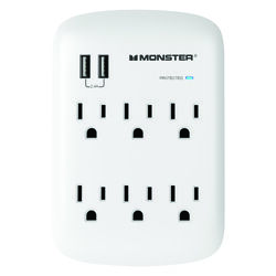 Monster Just Power It Up 1200 J 0 ft. L 6 outlets Surge Protector Wall Tap