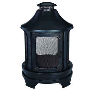 Living Accents  Old World  Wood  Steel  Outdoor Fireplace  29.5 in. W x 45 in. H x 29.5 in. D