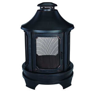 Living Accents  Old World  Wood  29.5 in. D x 29.5 in. W x 45 in. H Steel  Outdoor Fireplace