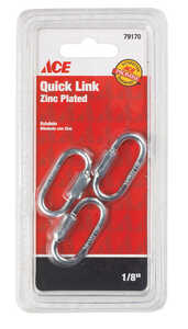 Ace  Zinc-Plated  Steel  Quick Link  220 lb. 1-3/8 in. L 3 pk