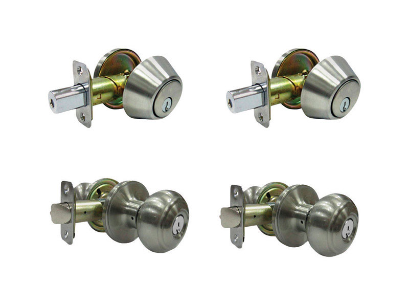 Faultless  Fu-Hsing  Fancy Mushroom  Satin Nickel  Metal  Entry Knob and Single Cylinder Deadbolt  3