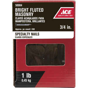 Ace  3/4 in. L Masonry  Bright  Steel  Nail  Fluted Shank  Flat  1 lb.