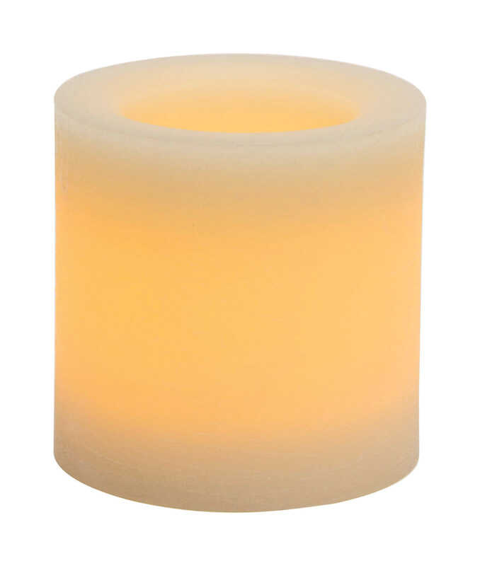 Inglow  Butter Cream  Vanilla Scent Pillar  Candle  4 in. H x 4 in. Dia.