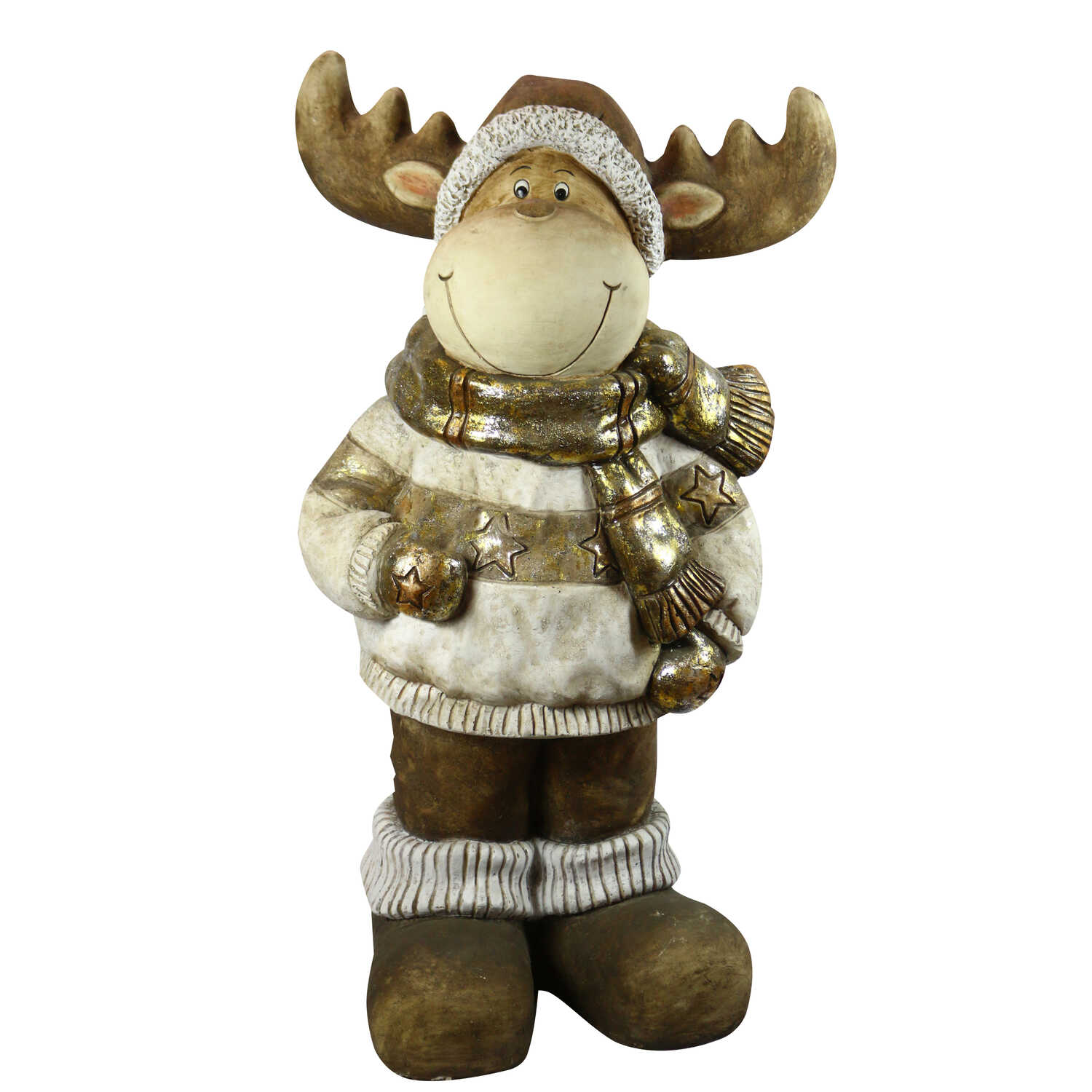 Alpine  Reindeer Statue  Christmas Decoration  Gold  Resin  1 each