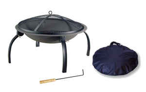 Living Accents  Portable  Wood  Fire Pit  17.7 in. H x 34 in. W x 34 in. D Steel