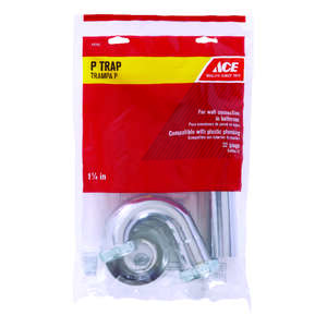 Ace  1-1/4 in. Dia. x 1-1/4 in. Dia. Slip To Slip  Chrome Plated  Brass  P Trap