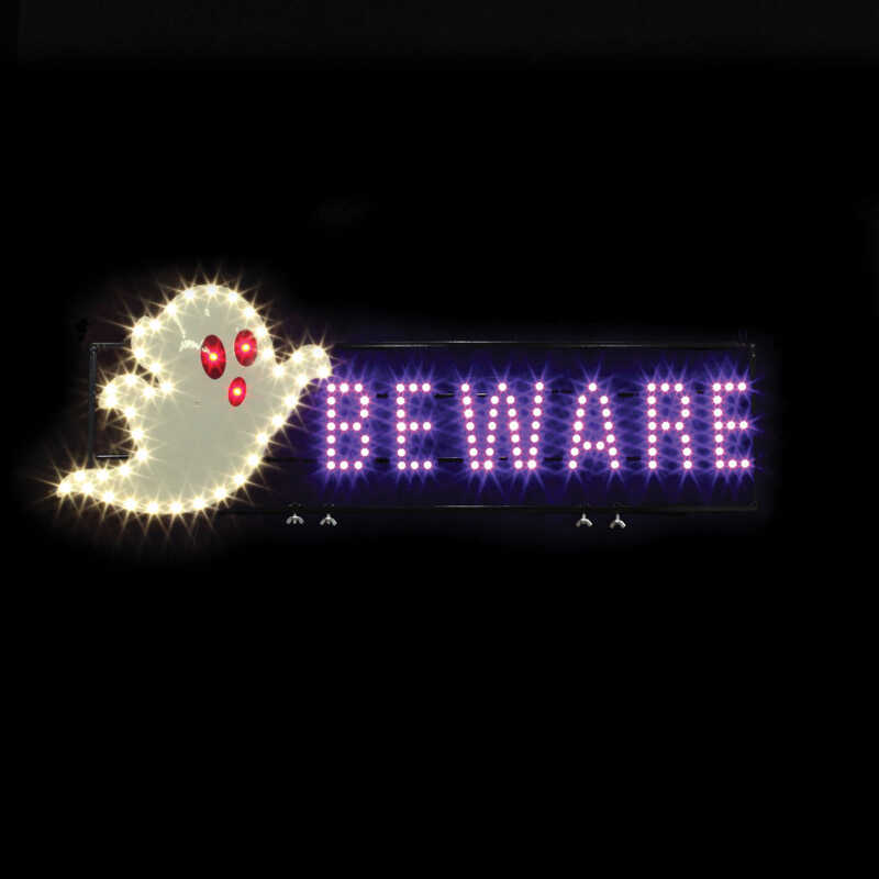 Santa's Best  Ghost Beware LED  Lighted Halloween Decoration  42 in. H x 1.5 in. W x 35 in. L 1 pk