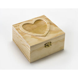 Plaid 5.25 in. H x 2.75 in. W x 5.25 in. L Natural Beige Wood Heart Box