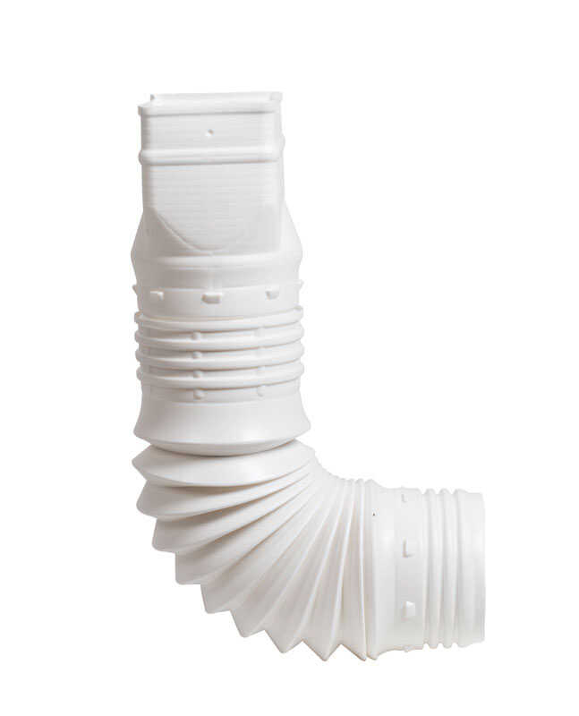 Flex-A-Spout  3.75 in. W x 3.75 in. H x 9 in. L Plastic  Flexible Downspout Extension  White