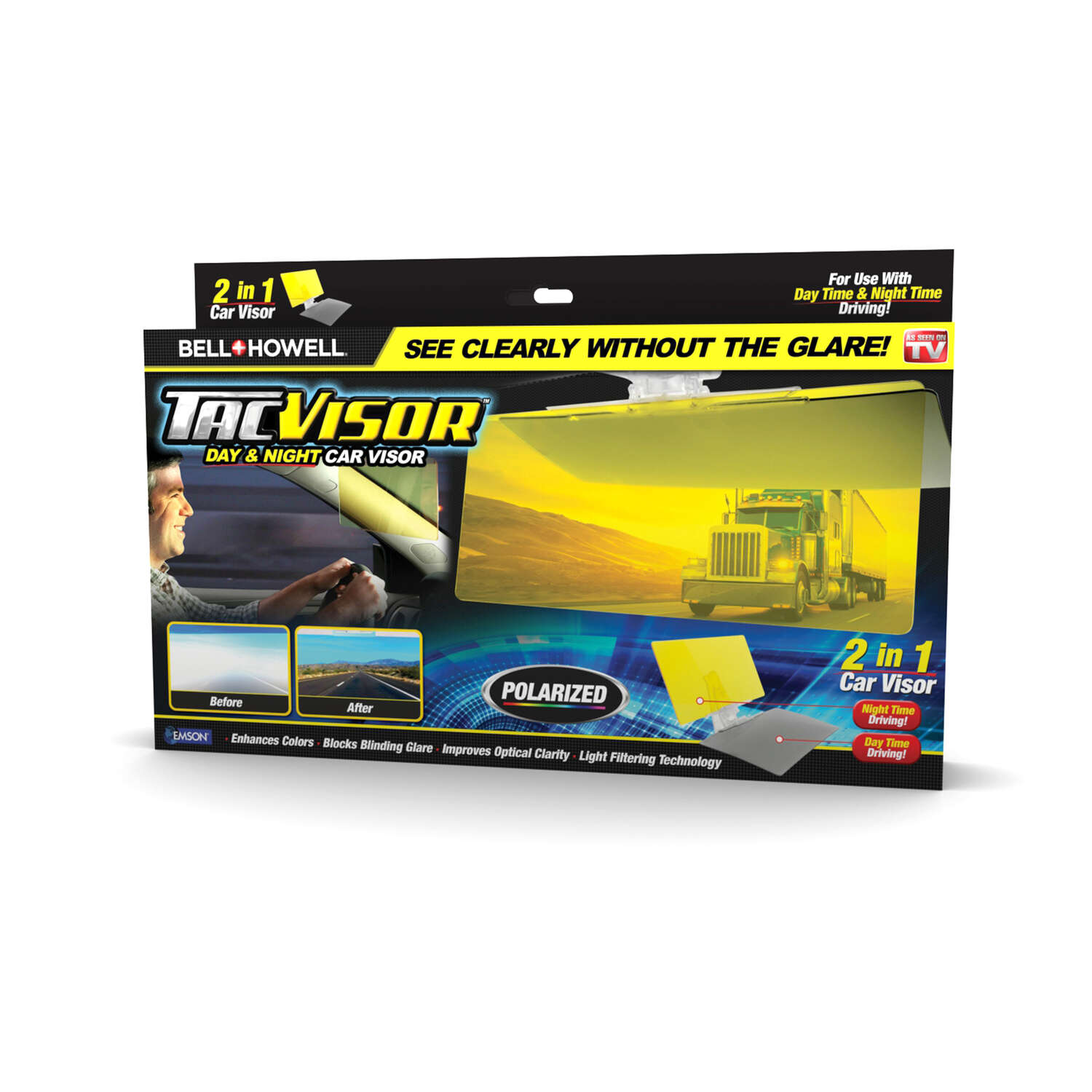Bell and Howell TacVisor 11.85 in. L x 6.5 in. W Yellow Glare Blocker